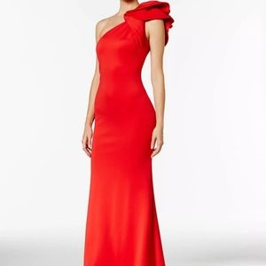 New Betsey & Adam Red Stretch Trumpet Gown Sz 6